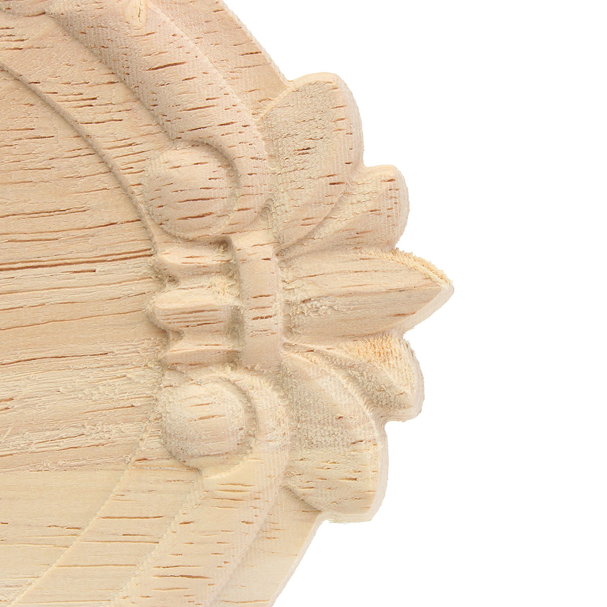 Wood Carving Applique Unpainted Flower Applique Wood Carving Decal 13x9cm 21x15cm