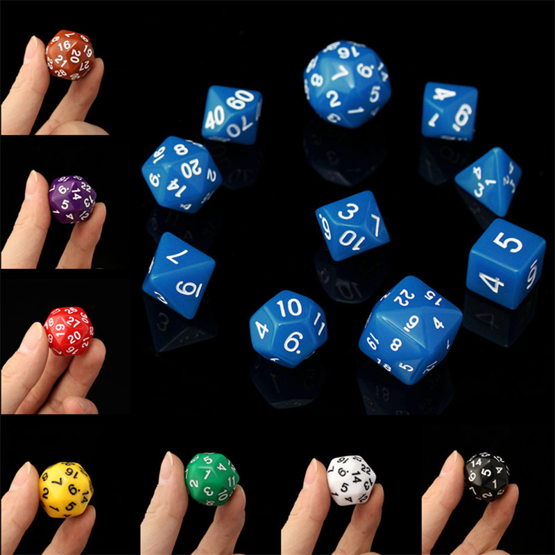 10pc-Set D4-D30 Multi-sided Dices TRPG Games Gaming Dices 8Color