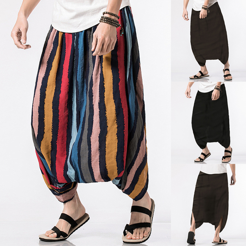 Mens 100% Cotton Crotch Wide Leg Pants