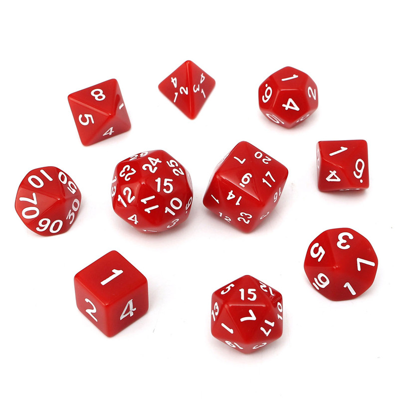 10pc/Set D4-D30 Multi-sided Dices TRPG Games Gaming Dices 8Color