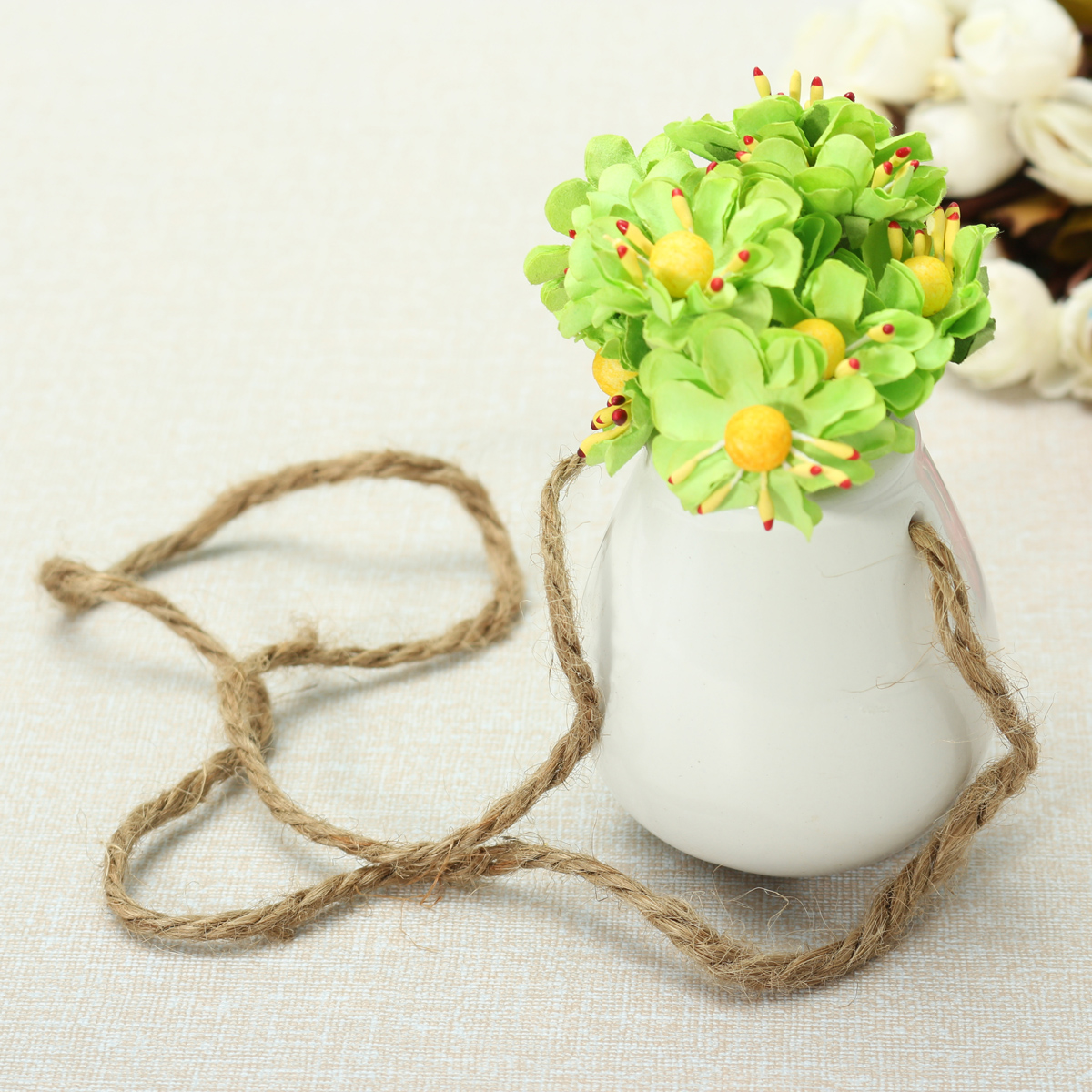 Garden White Ceramic Hanging Planter Flower Pot Bottle Vase Twines Home Decor