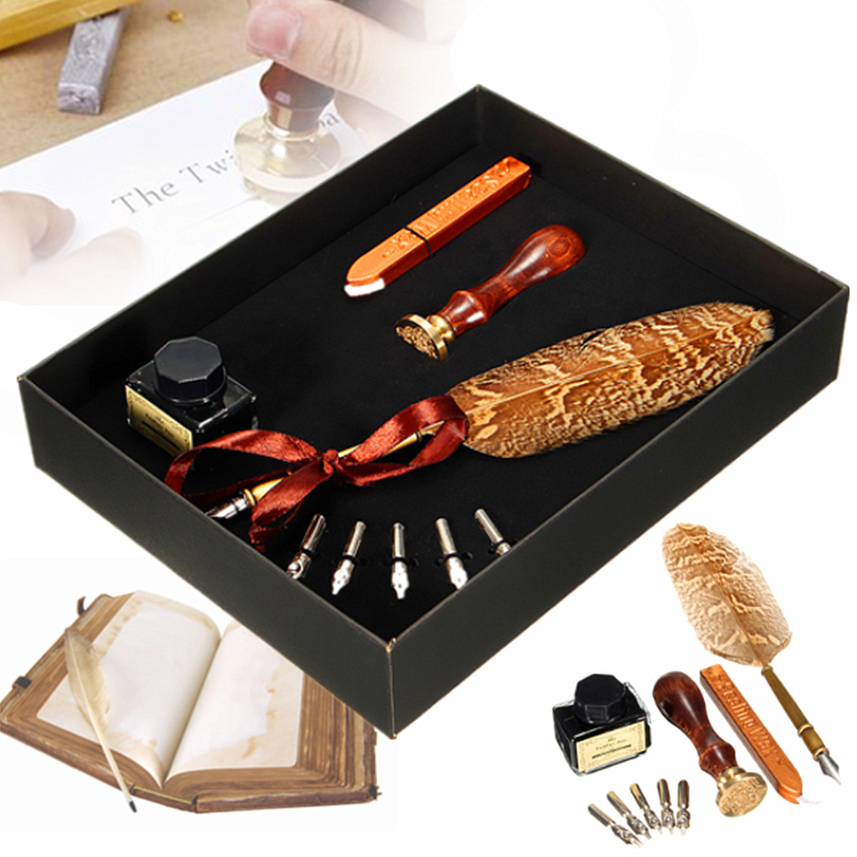 9 In 1 Antique Owl Feather Quill Writing Pen Feather Foundation Dip Pen Set Stationery Gift Supplies