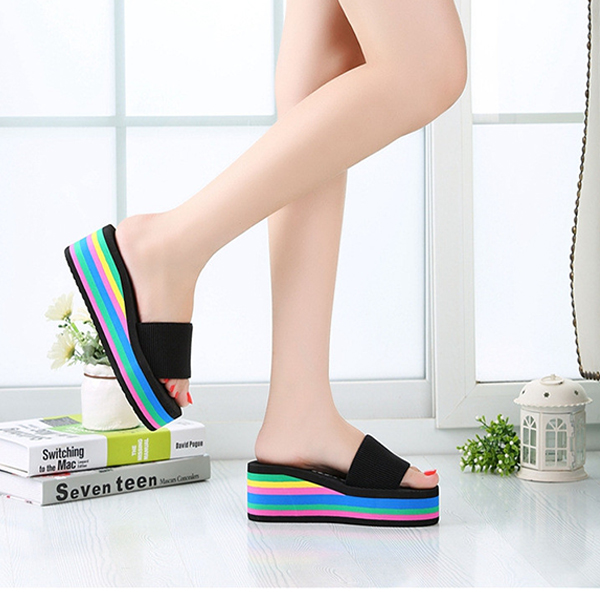 Women Casual Flip Flops Foam Beach Sandals Rainbow High Platform Wedge Slipper Shoes