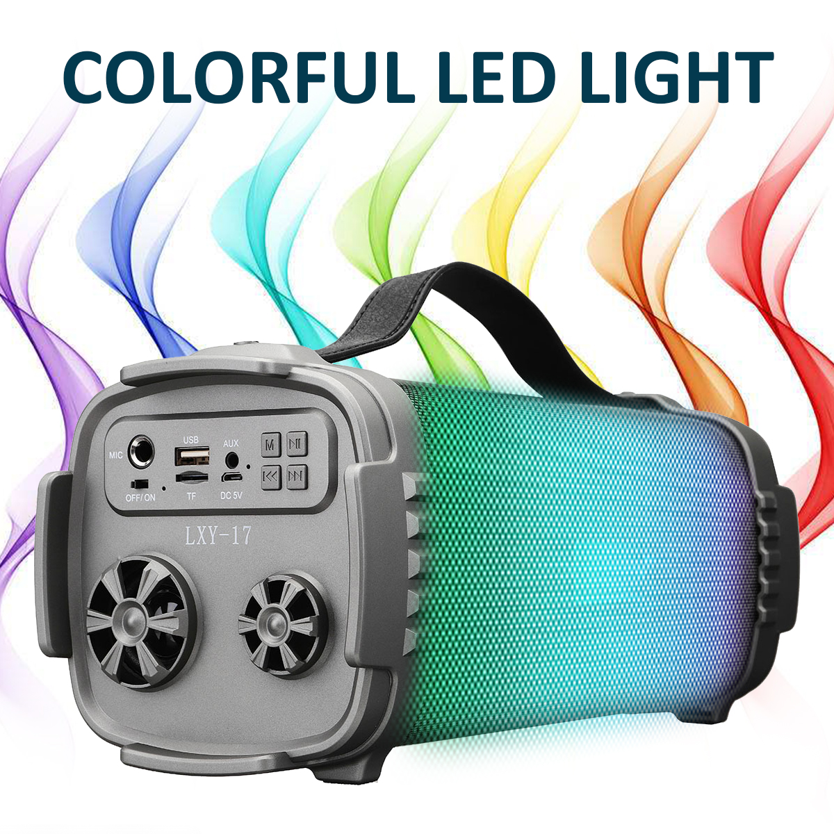 Portable Wireless bluetooth Speaker Colorful LED Light Outdoor Stereo Bass FM Radio TF Card Speaker