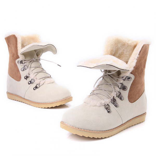 US Size 5-12 Winter Women Flat Boots Keep Warm Casual Lace Up Snow Boots