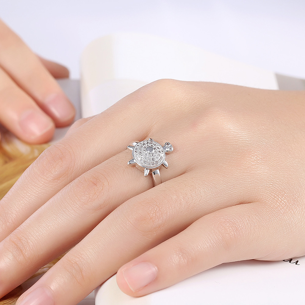 Lovely Turtle Zircon Platinum Plated Opening Gift Party Wedding Finger Rings