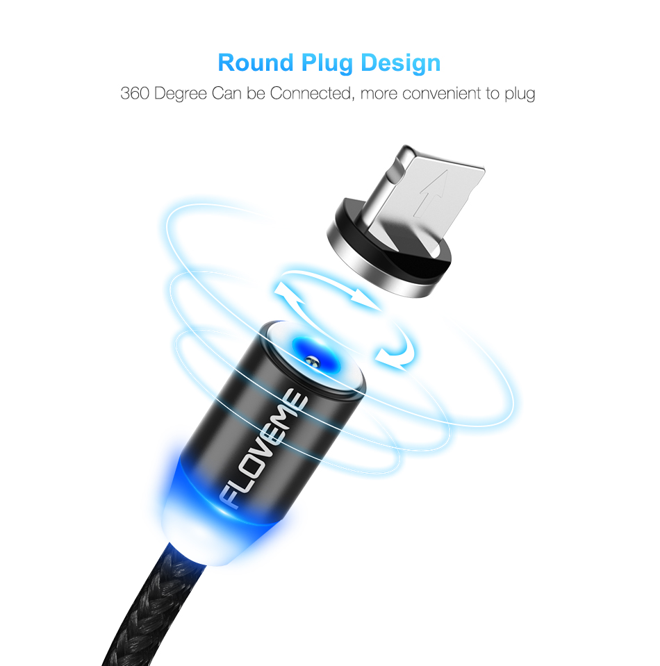 FLOVEME 2A Type C LED Magnetic Braided Fast Charging Phone Data Cable 1m For Oneplus 5t Xiaomi 6 Mi A1 S9 S9+