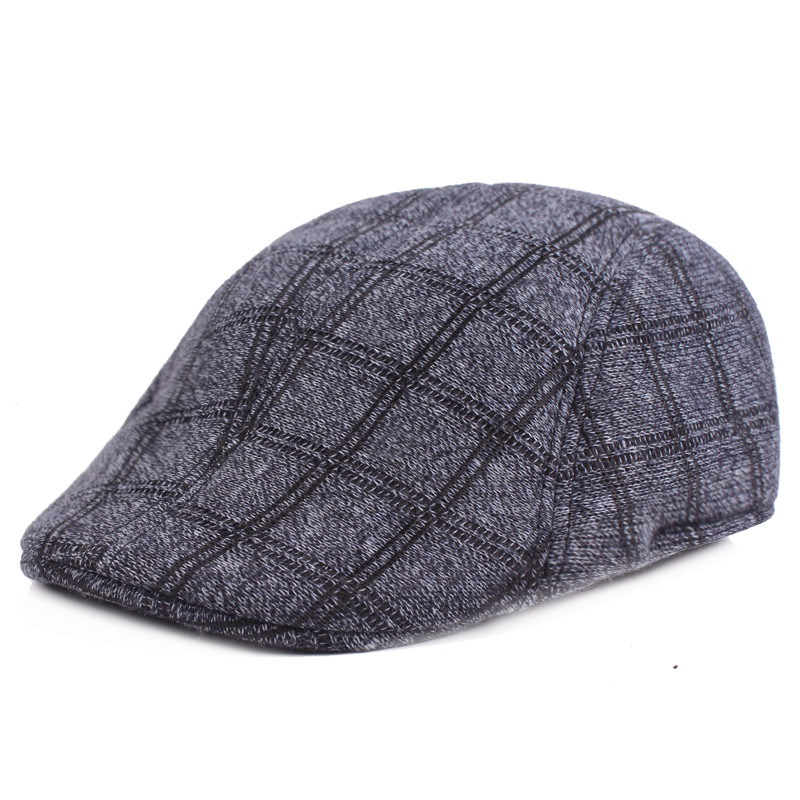 Mens Winter Cotton Plaid Peaked Cap