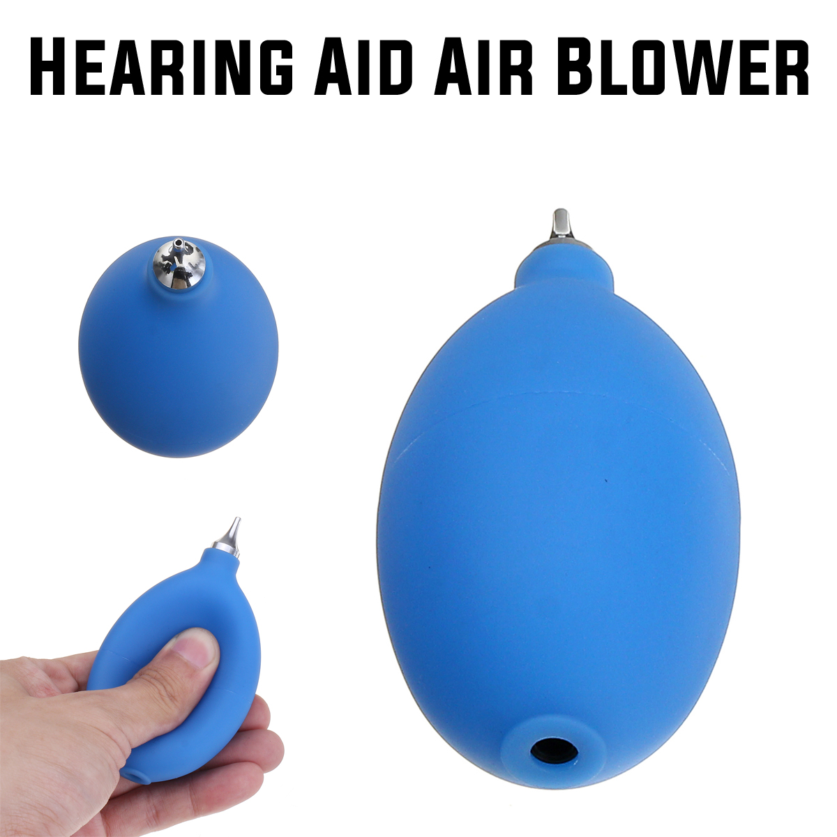 Hearing Aid Dryer Pump Cleaner ABS Metal Tip Duster Cleaning Air Blower Puffer