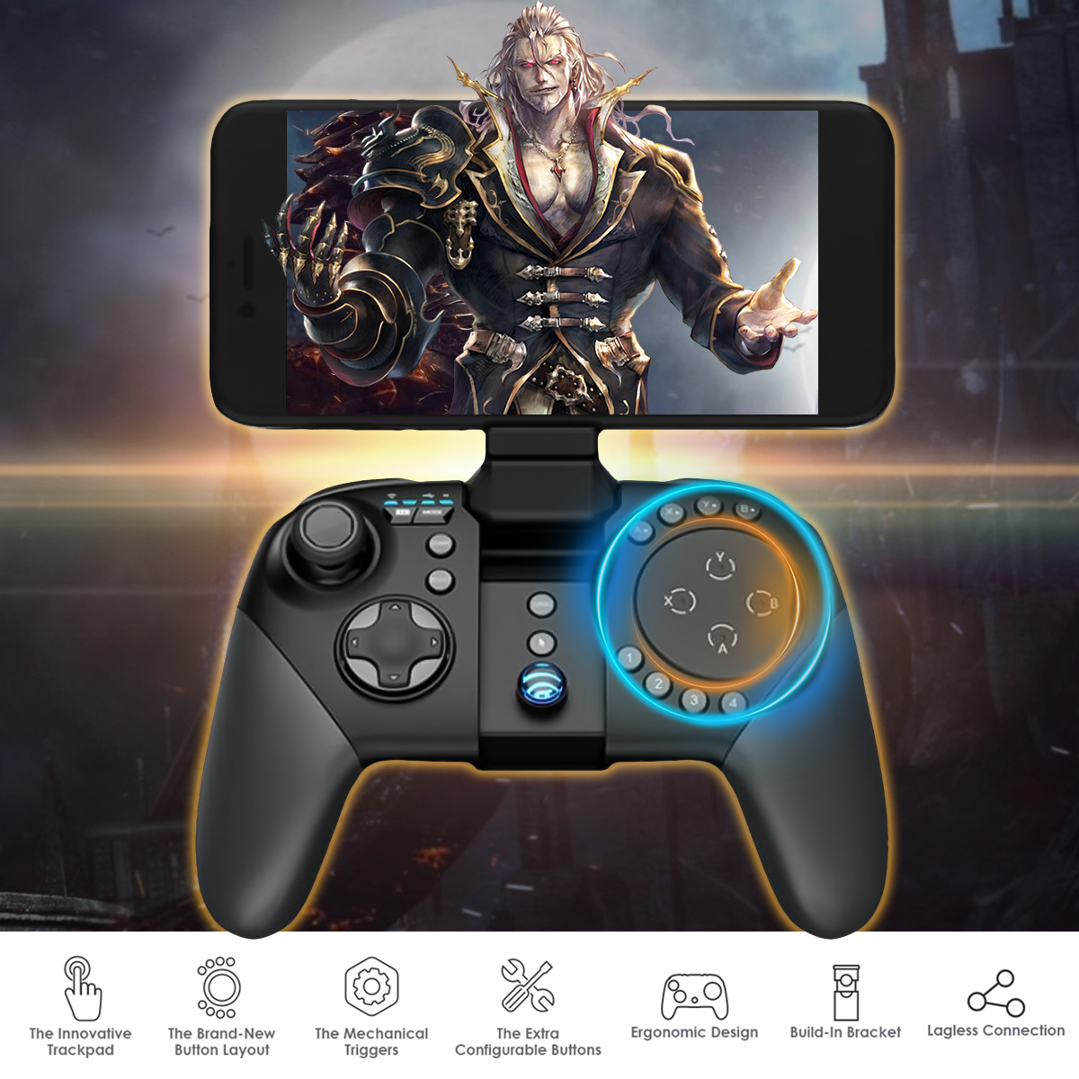 2Pcs Gamesir G5 bluetooth Wireless Trackpad Touchpad Gamepad Mouse Keyboard Converter with Phone Clip for iOS Android Chinese Version