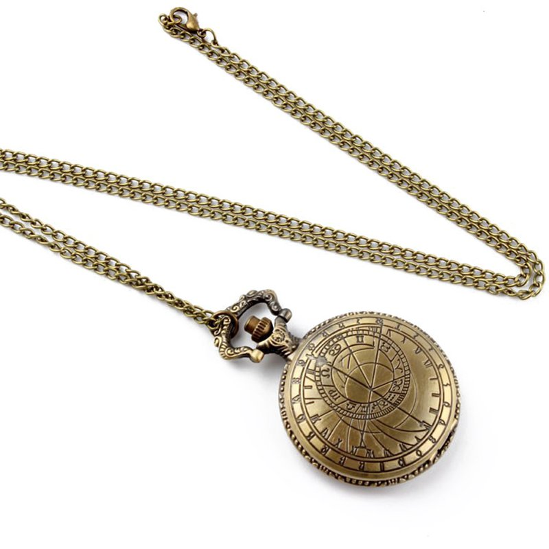DEFFRUN Retro Bronze Compass Pattern Quartz Pocket Watch