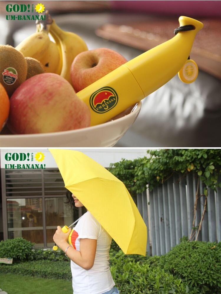 Mini Outdoor Creative Cartoon Banana Novelty Fruit Yellow Novelty Anti UV Folding Sun Rain Waterproof Umbrella