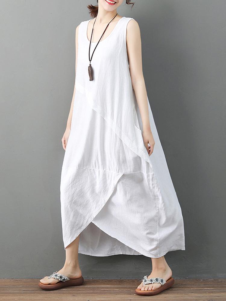 Pure Cotton Solid Irregular Split Maxi Dress