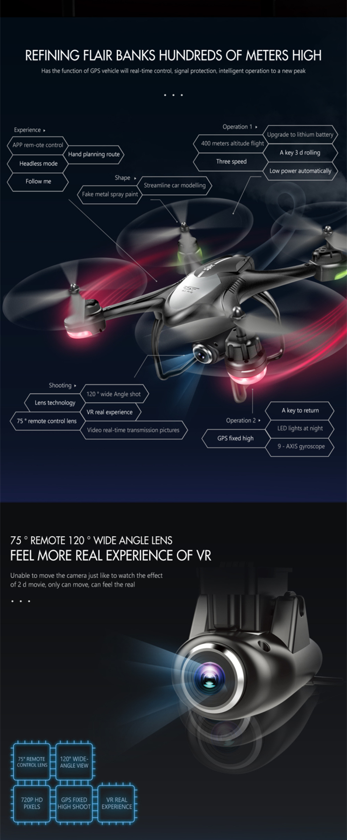 SJRC S30W Double GPS Dynamic Follow WIFI FPV With 720P Wide Angle Camera RC Drone Quadcopter