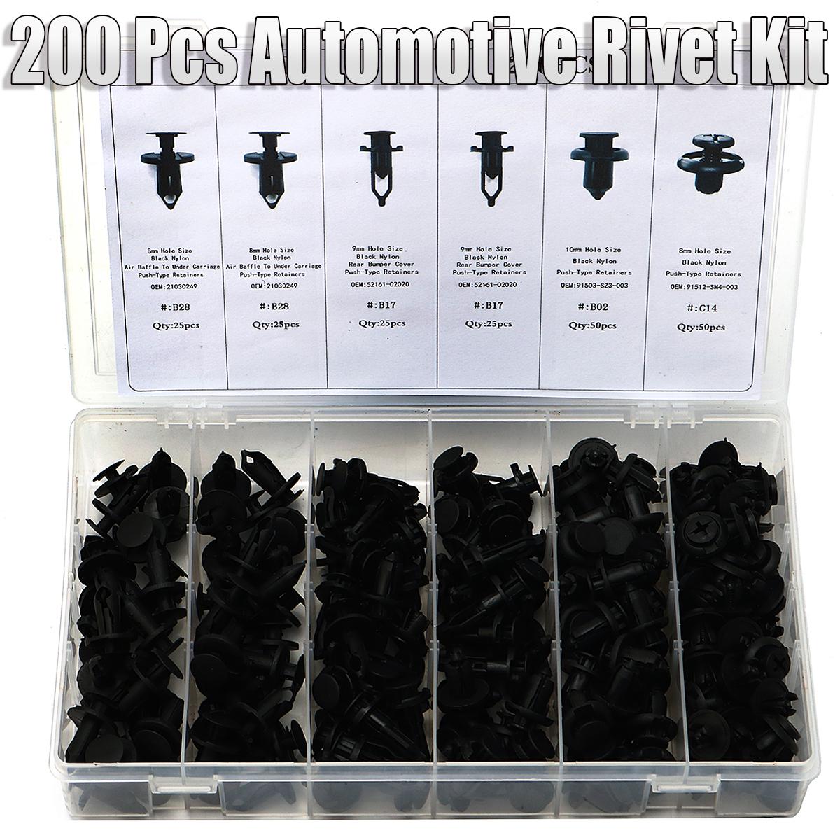 200 Pcs Auto Car Pushpin Rivet Trim Clip Assortment Kit For Ford For Toyota For Honda