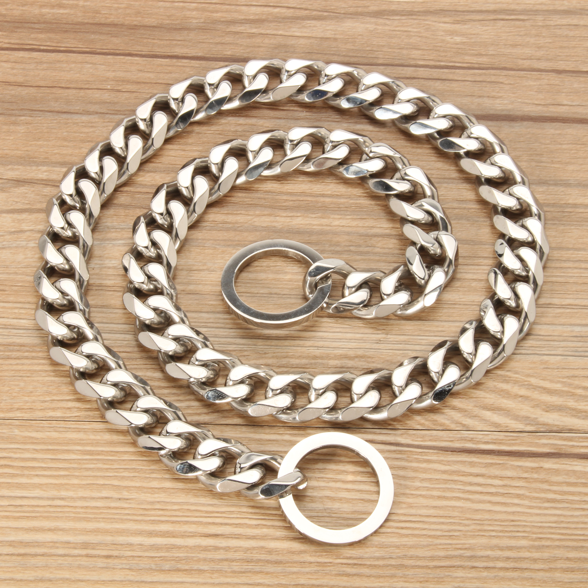 Silver Cuban Curb Link Stainless Steel Dog Chain Pet Training Collar Choker Dog Traction Rope
