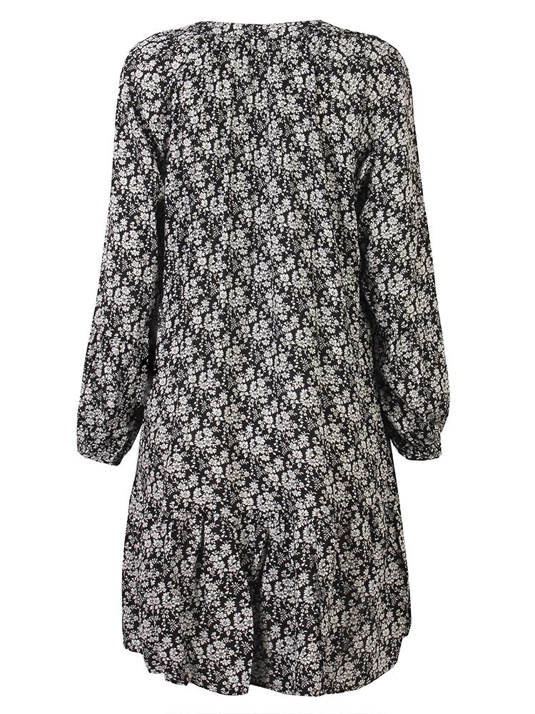 Casual Women V Neck Lantern Sleeve Floral Chiffon Mini Dress