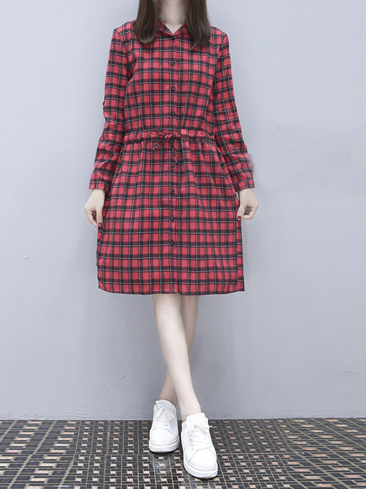 Women Plaid Buttons Down Casual Long Tops Knee-Length Shirt Dress