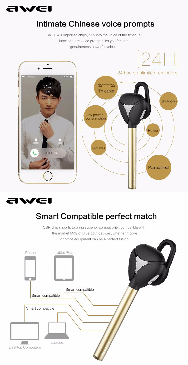 Awei A830BL bluetooth V4.1 CVC 6.0 Noise Cancelling Earphone Wireless Headset Car Kit Hands Free