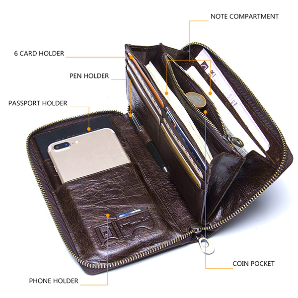 Men Multifunction Purse Pen Holder Phone Holder Zipper Pocket Large Capacity Business Wallet