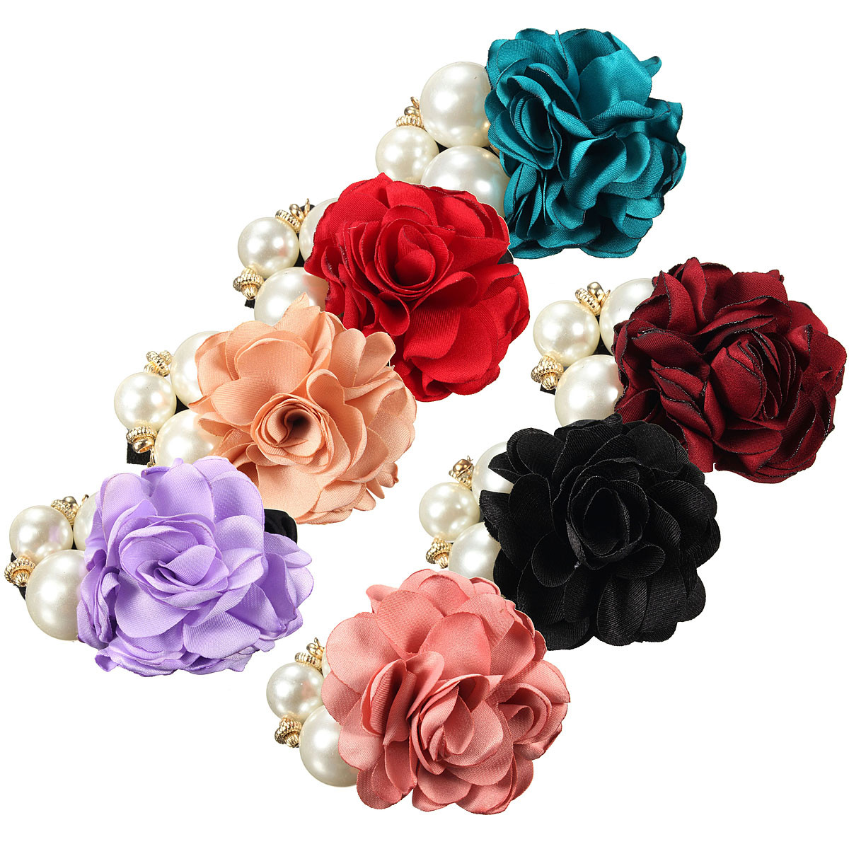 Women Satin Ribbon Rose Flower Pearls Hair Band Ponytail Holder Elastic Hair Band