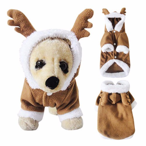 Pet Dog Puppy Christmas Lovely Deer Sweater Hoodie Jumpsuit Coat Clothes Outwea