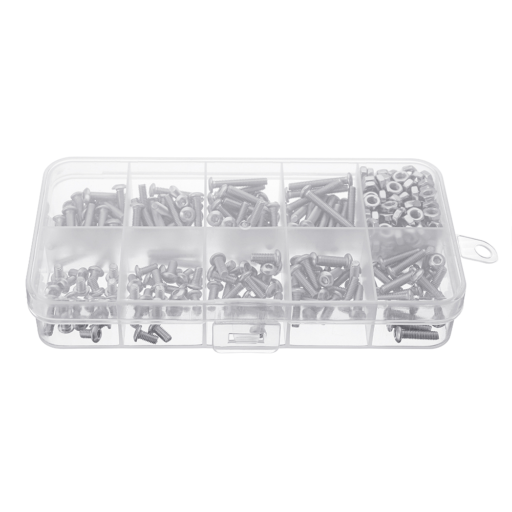 Suleve™ M3SS5 340Pcs M3 A2 Stainless Steel Hexagon Sockets Screw Nuts Assortment Set 5-20mm