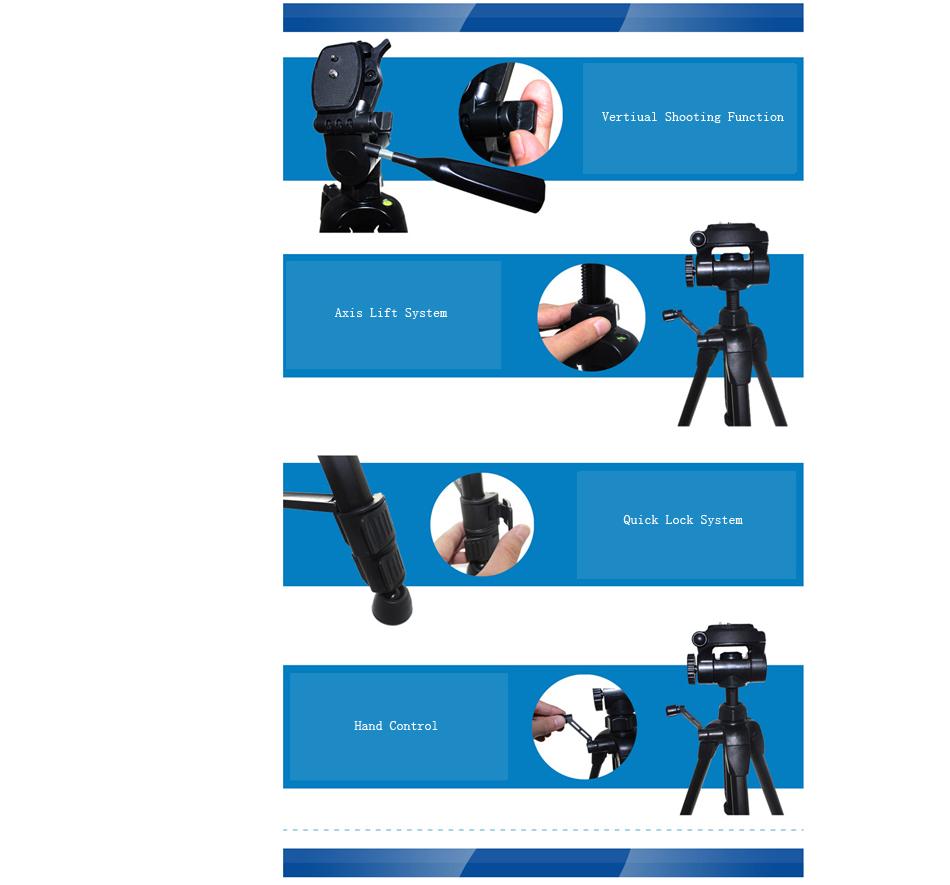 Yingnuo Portable Professional Aluminum Alloy Tripod for DSLR Camera