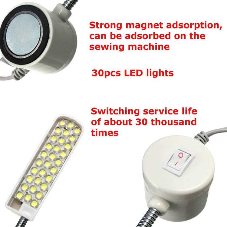 2W AC110-220V Sewing Machine 30 LED Gooseneck Light Magnetic Base with US Plug