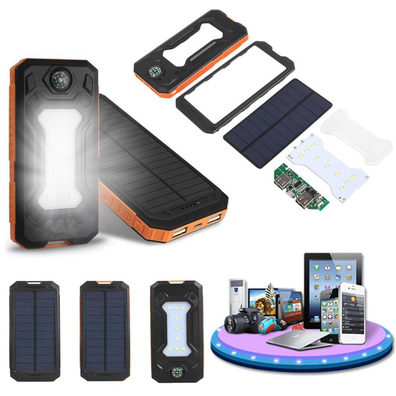 Cewaal Waterproof LED Dual USB Solar Panel Power Bank Case Battery Charger DIY Kit Set