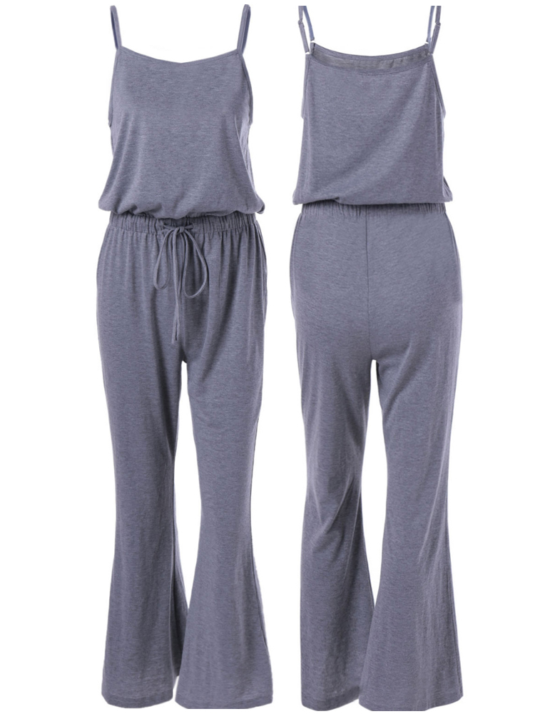 Gray Sexy Spaghetti Strap High Waist Drawstring Women Wide Leg Jumpsuits