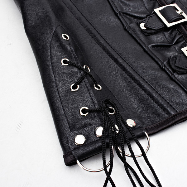 Faux Leather Halter Steampunk Buckle-up Overbust Waist Trainer Vest Corsets