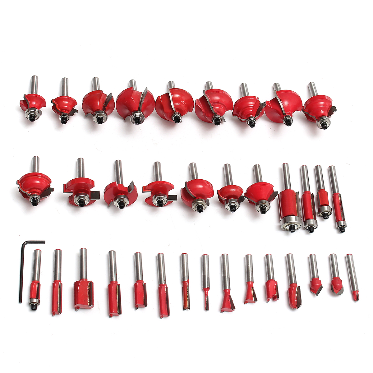 35pcs 1/4 Inch Shank Tungsten Carbide Tip Router Bit Set Wood Working Tool