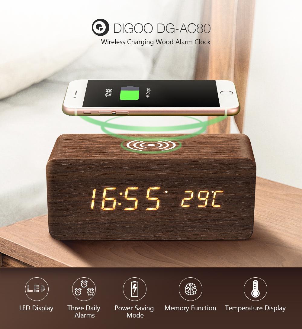 [2019 Third Digoo Carnival] Digoo DG-AC80 LED 12/24 Hour Adjustable Display Wooden Clock Wirless Charging Voice Control Alarm Clock