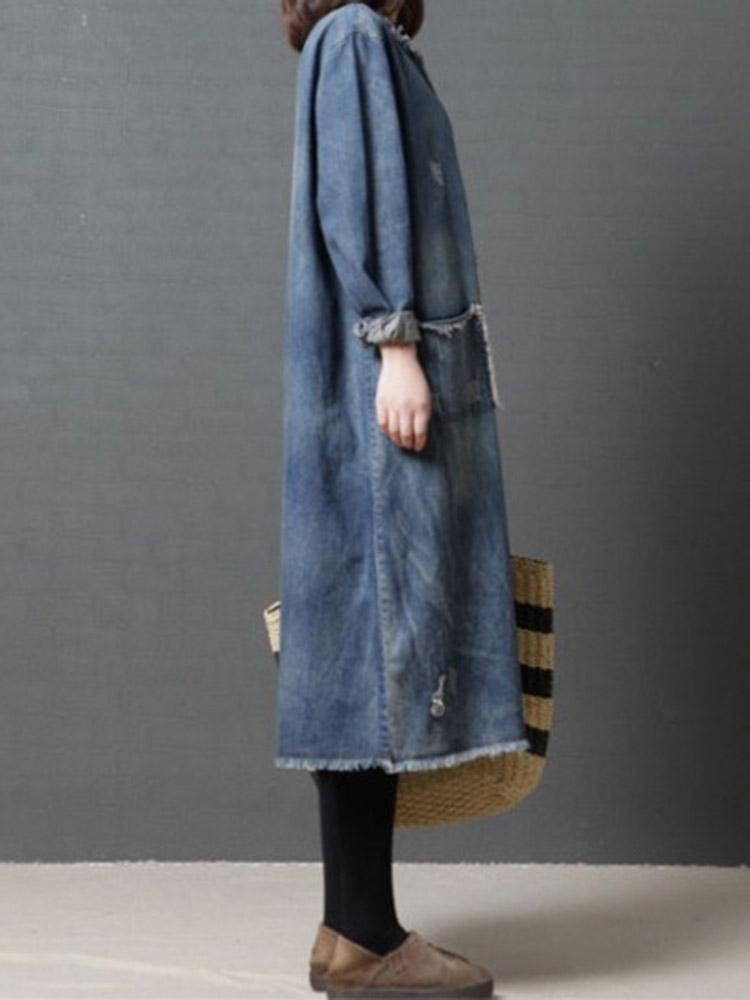 Loose Casual Long Sleeve O-neck Mid-long Denim Dress