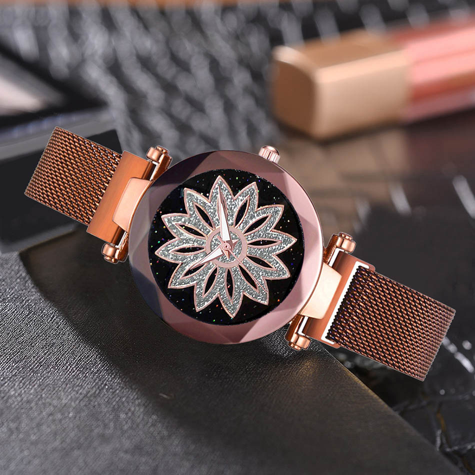 Deffrun Shining Elegant Design Flower Dial Case Ladies Watch