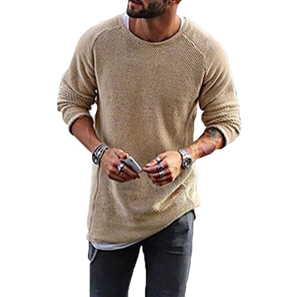 Fashion Men's Knitting Solid Color O-Neck T-shirts