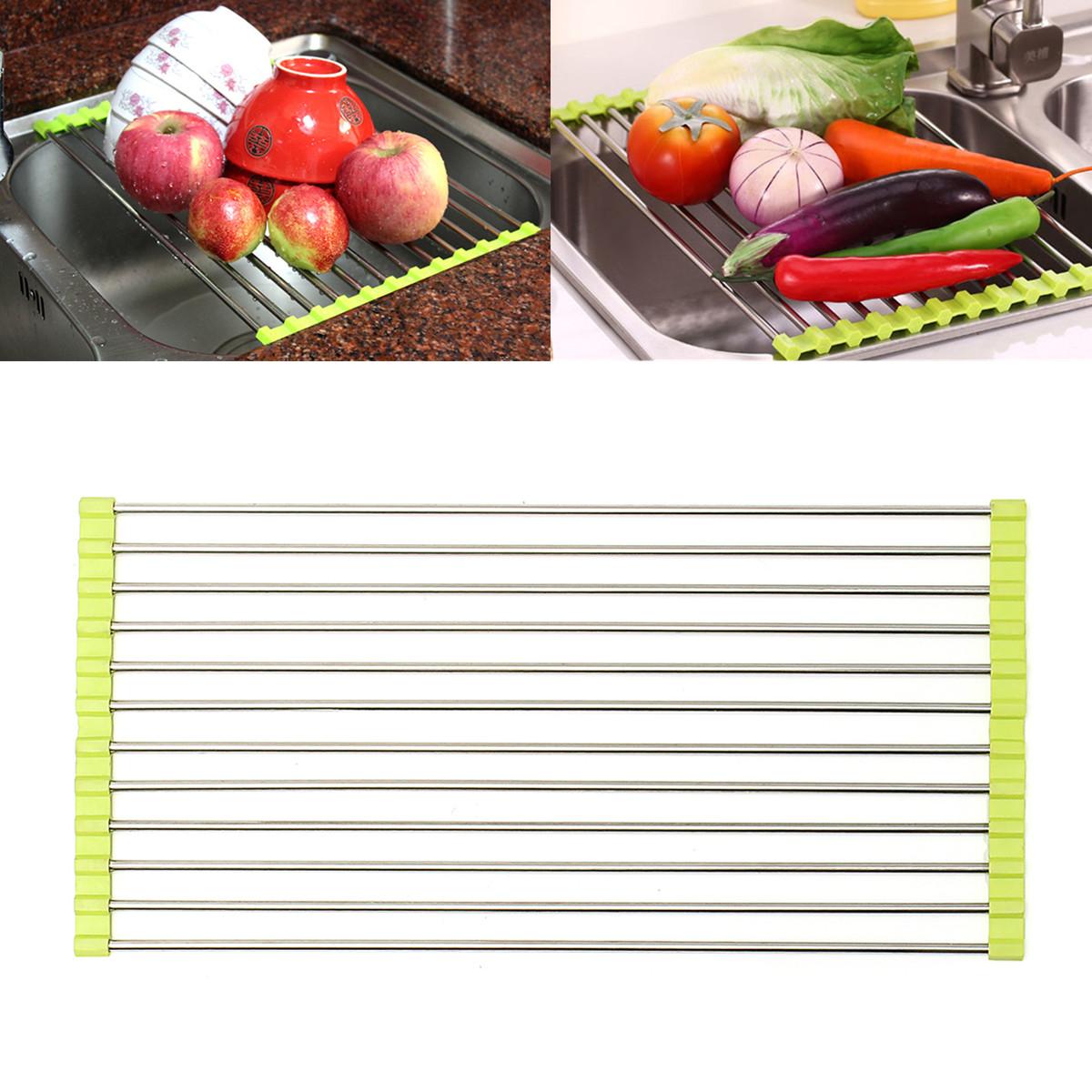 Stainless Steel Sink Dish Drying Roll Rack Fruit Vegetable Drainer Holder Shelf for Kitchen
