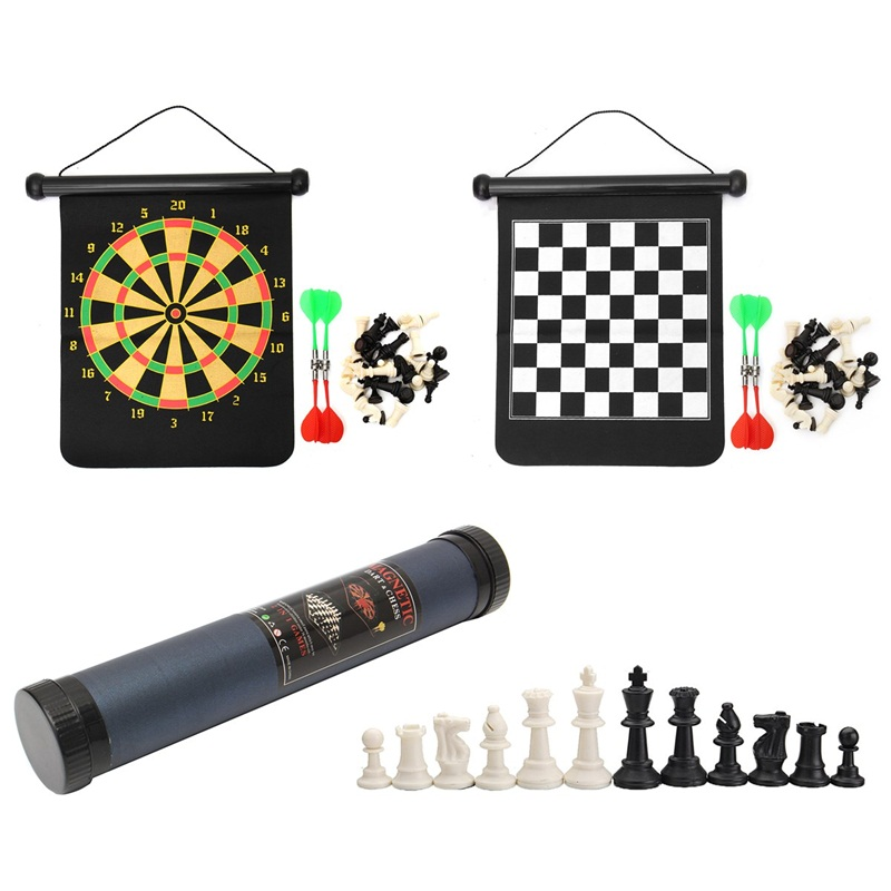 2 in 1 36*31cm Chess Set Magnetic Dart Board Outdoor Travel Family Entertainment Chess Dart Game