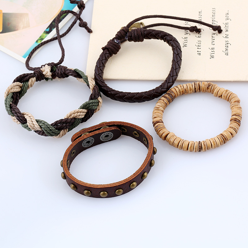 Bohemian Weave Hemp Rope Bracelet Vintage Multilayer Cowhide