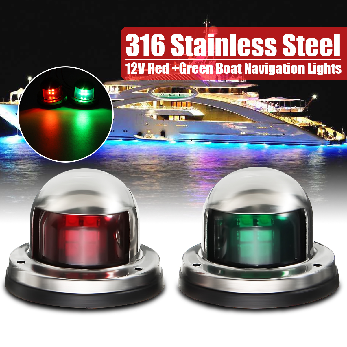 12V Yacht LED Navigation Lights Stainless Steel Bow Marine Boat Red Green Lamp