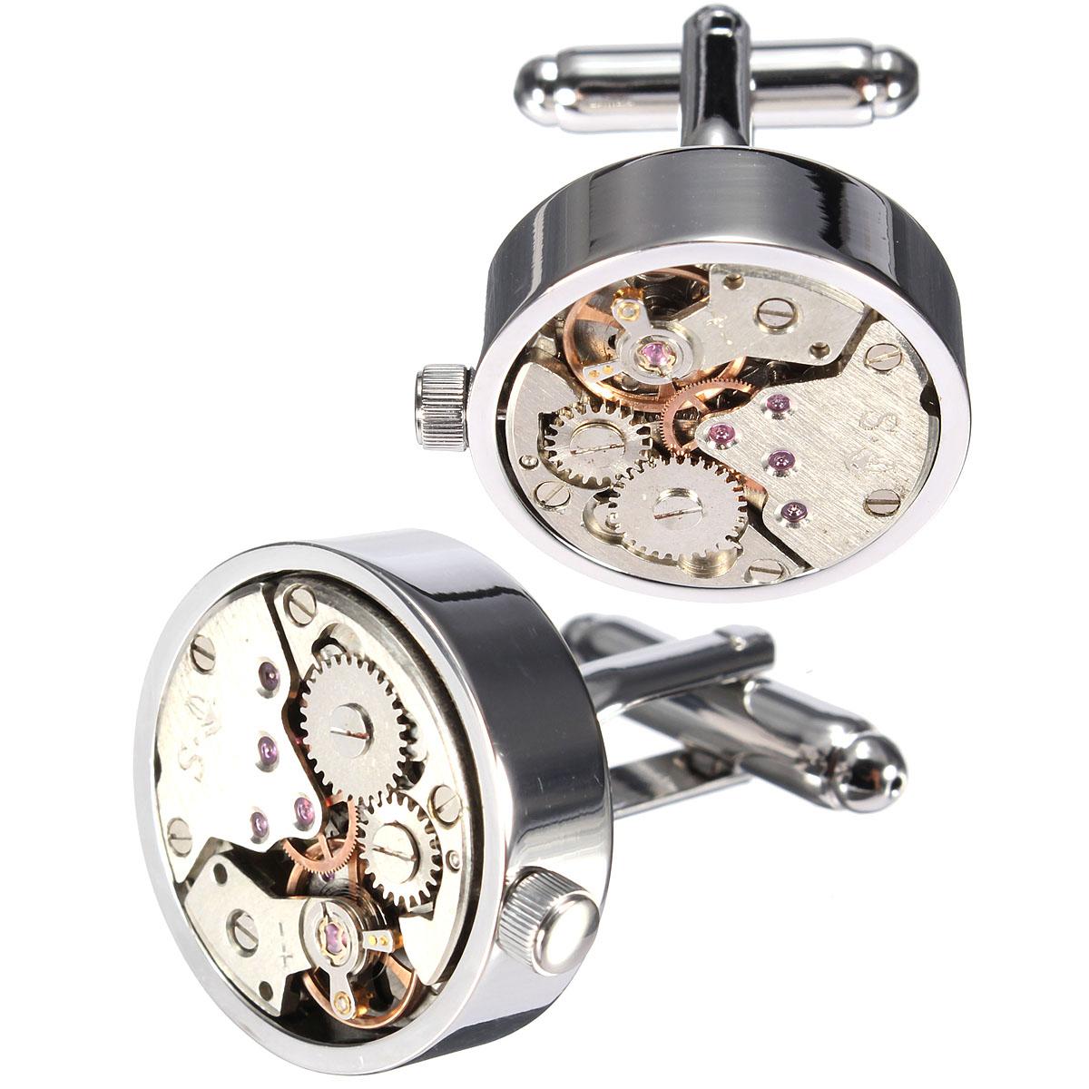 Men Male Silver Mechanical Watch Pattern Cuff Links Wedding Gift Suit Shirt Accessories