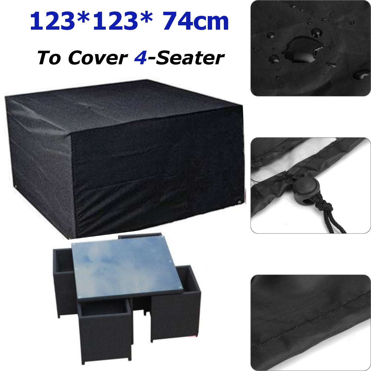 IPRee® 123x123x74cm Waterproof Polyester 4 Seater Table Chair Cover Outdoor Furniture Protection