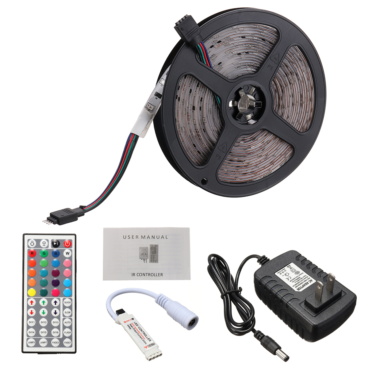5M 3528 Waterproof RGB Flexible LED Strip Light+IR Controller+44Keys Remote Control+EU US Plug