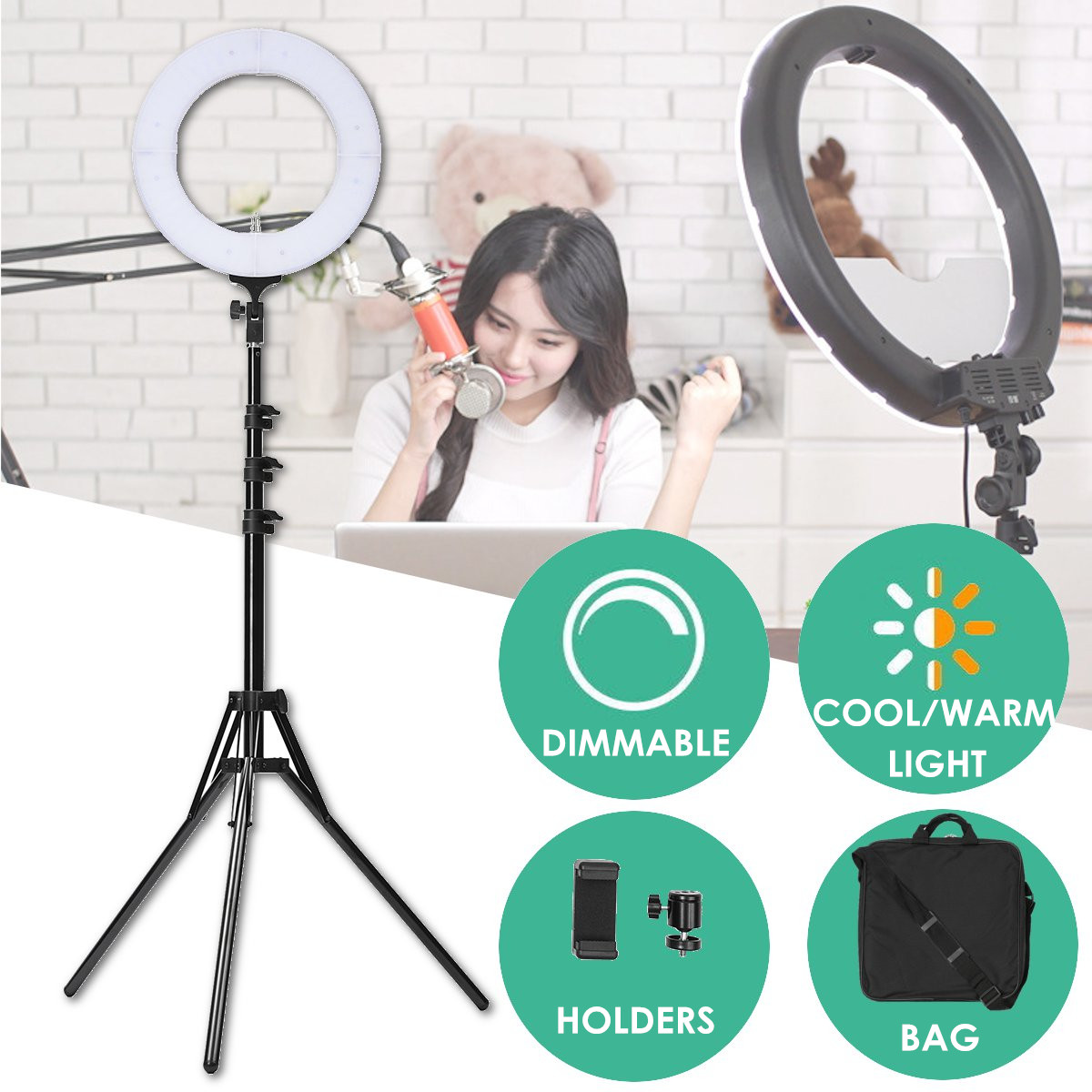 14'' 5500K Fill Light Dimmable LED Ring Tripod Camera Adjustable Selfie Lamp Makeup Mirror Light