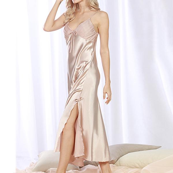 Silk Split Sling Home Service Women Sleepwear Long Skirt