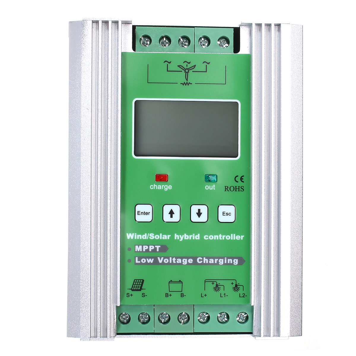 12V/24V Boost 300W Wind 150W Solar MPPT Wind Solar Hybrid Controller Regulator LCD Display