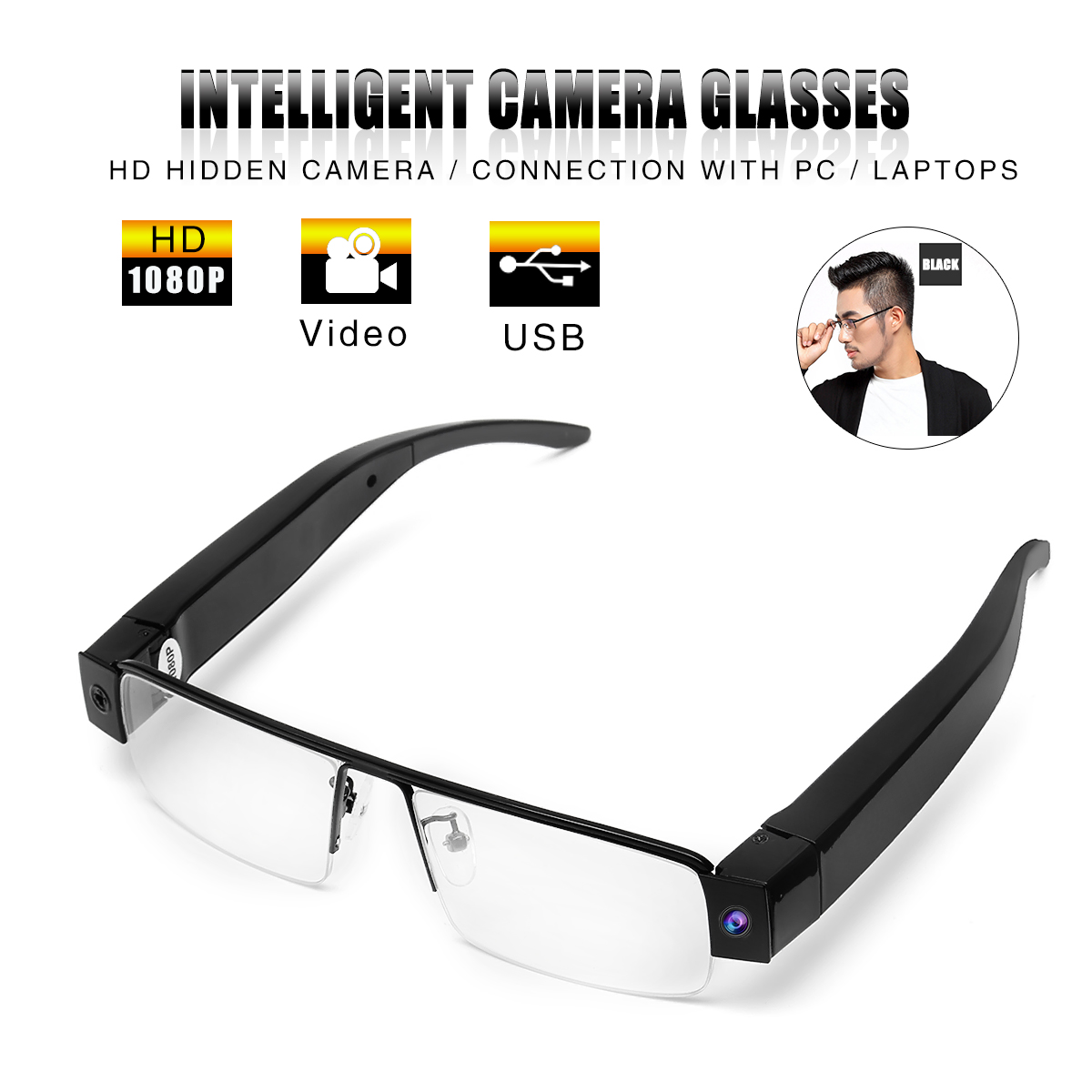 1080P HD Hidden Camera Eyewear Security Video Recorder DVR Glasses Camcorder for PC Laptop