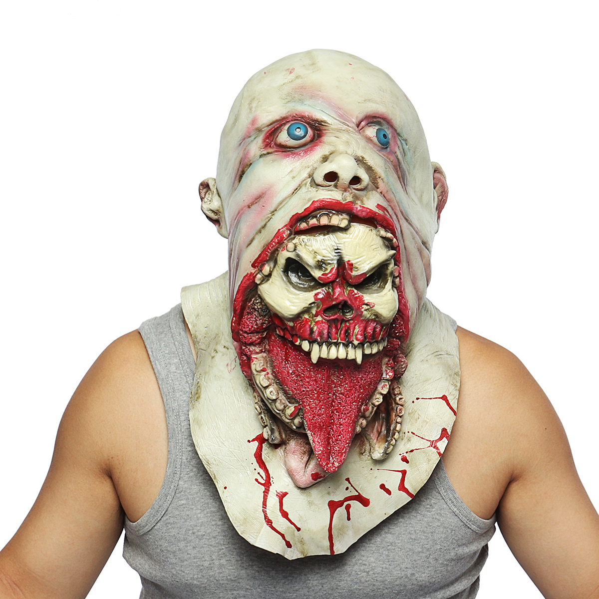Halloween Adult Bloody Zombie Latex Mask Cosplay Scary Melting Face Head
