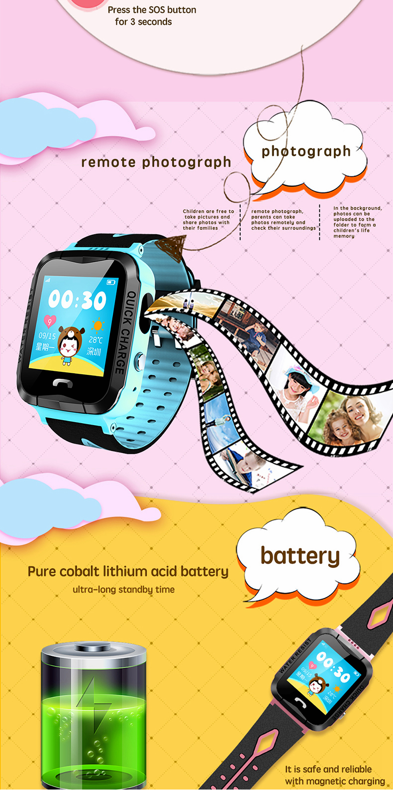 Bakeey Y36 1.44inch Childer Child Remote Monitor IP67 SOS LBS Location GSM Camera Smart Watch